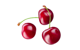 Three rich red tart cherries rich in Vitamins A, C, and K