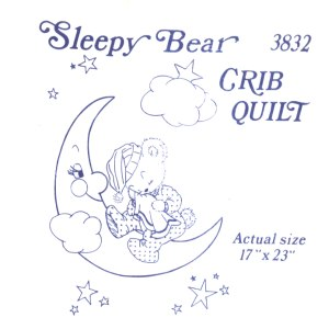 Aunt Martha 3832 - Sleepy Bear Crib Quilt