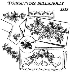 Aunt Martha 3858 - Poinsettias, Bells, Holly