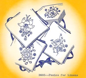 Aunt Martha 3605 - Posies for Linens