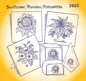 Aunt Martha 3865 - Sunflower, Pansies, Poinsettia