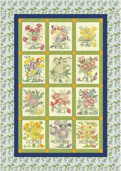 Flower of the Month Embroidery Quilt