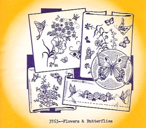 Aunt Martha 3763 - Flowers & Butterflies