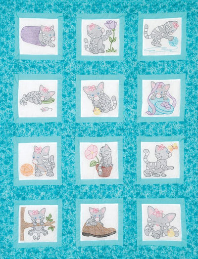 "Kittens 9"" Pre-Printed Quilt Squares"