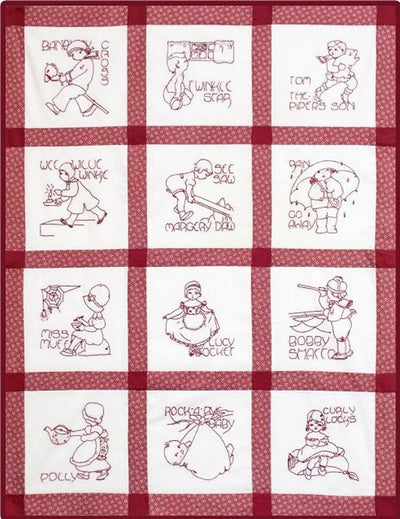 Rhyme Time Redwork Quilt in Red