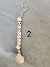 Load image into Gallery viewer, Pacifier Clip Binky Clip Dummy Clip Paci Clip Silicone and Wood pacifier clip Baby Shower Gift - Glory Design Crochet