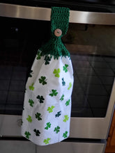 Load image into Gallery viewer, Crochet topped St. Patrick's Day kitchen towels