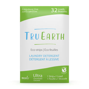 Tru Earth Eco-strips Laundry Detergent for Sustainable Zero-Waste Laundry; Fragrance Free Laundry Soap 32 Loads