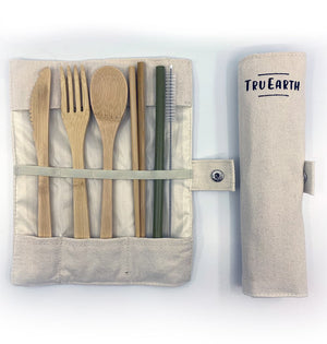 Tru Earth Reusable Bamboo Cutlery set with Fork, Knife, Spoon, Chopsticks, Bamboo Straw and Straw Cleaning Tool in a portable case. Zero Waste never looked so good!