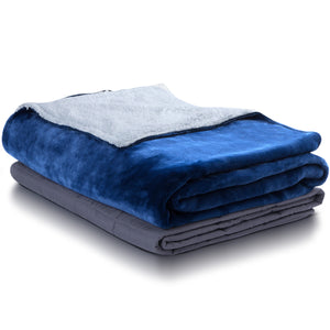 Open image in slideshow, Hush. Weighted Sherpa Throw - Ocean Blue
