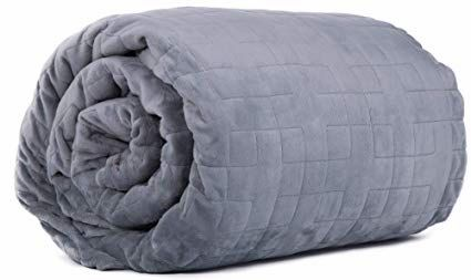 10 lb Weighted Blanket with Grey Double-Sided Minky Cover