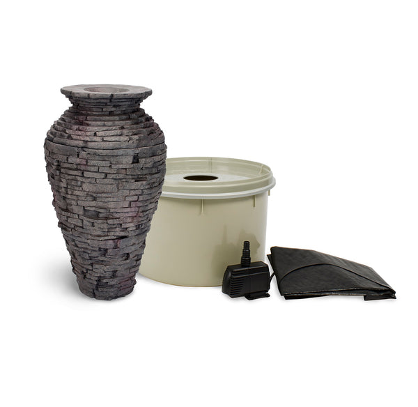 Small Stacked Slate Urn Landscape Fountain Kit