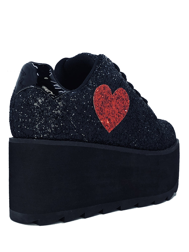 LALA HEART - BLACK/RED GLITTER