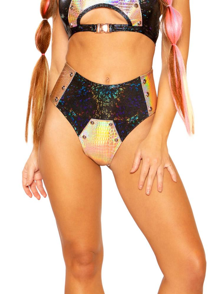 Black Broken/Rose Gold Faux Reptile Bolt Short - Y R U