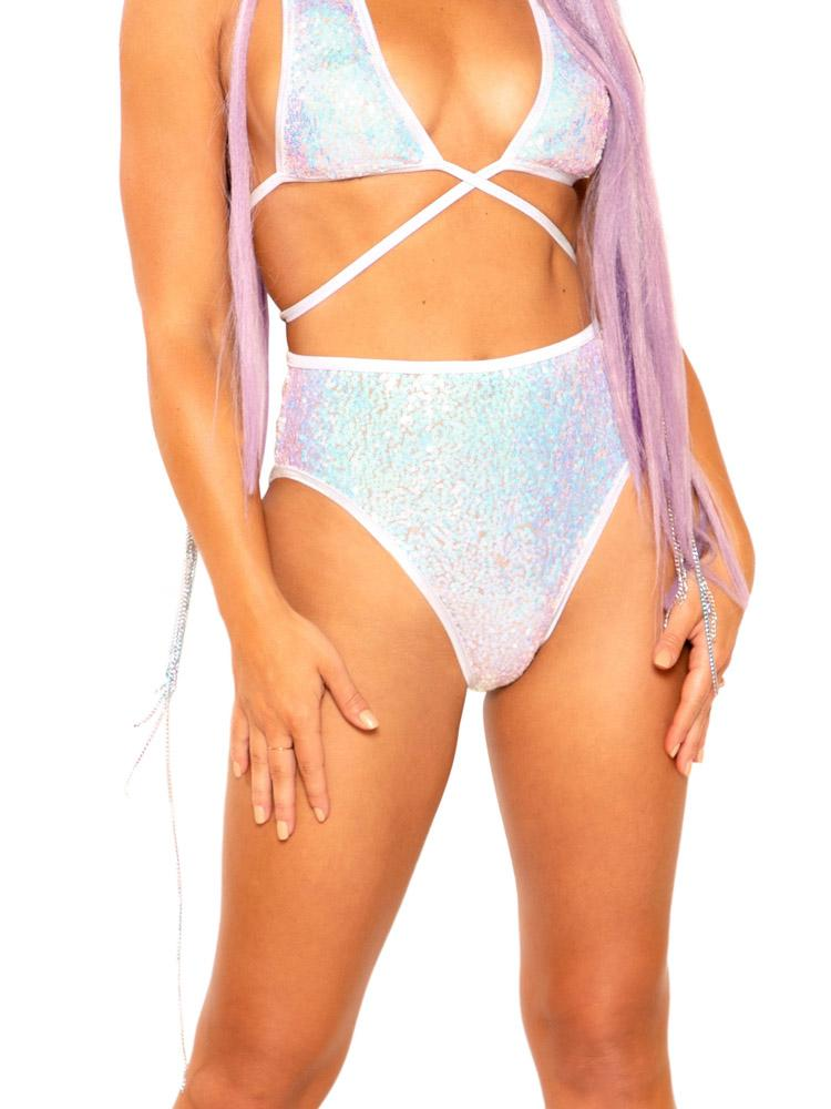Light-Up Cosmic Sequin High-Waist Bottoms - Y R U