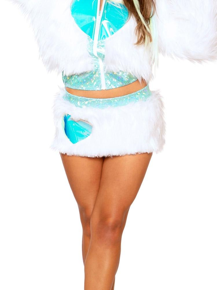 Light-Up White Fur/Blue & White Lights Heart Window Skirt - Y R U