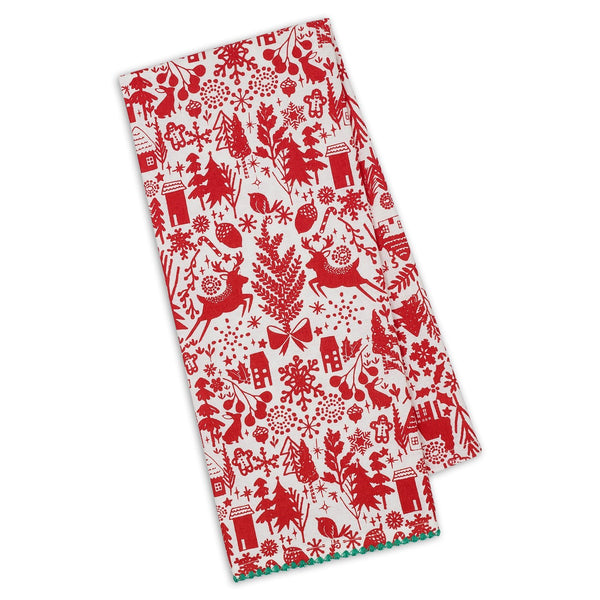 Christmas Woods Dish Towel