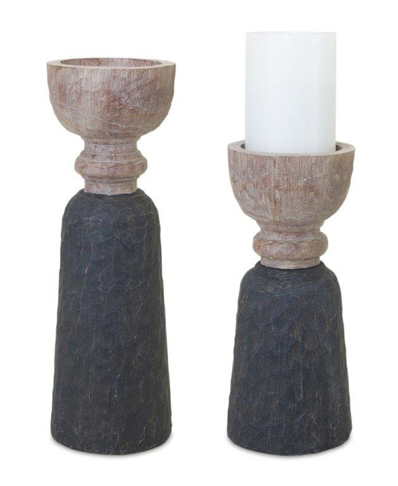 Mod Two Texture Candle Holders (S/2)