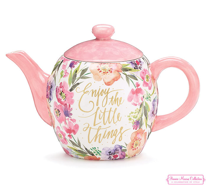 Watercolor Florals - Enjoy The Little Things Teapot