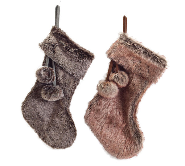 Faux Fur Stockings w/ Poms