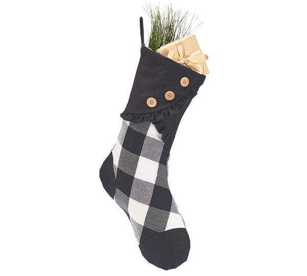 Black & White Plaid Stocking w/ Ruffles