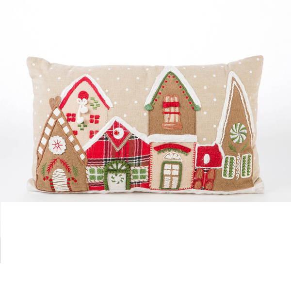 Vintage Inspired Embroidered Village Accent Pillow