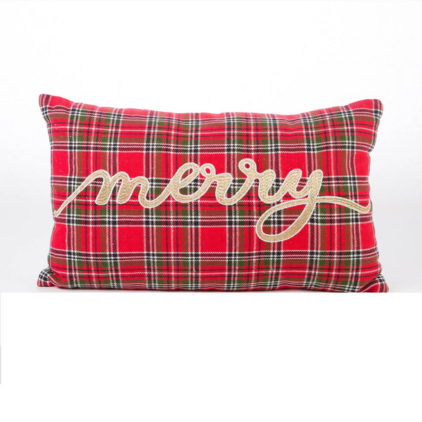"Embroidered ""Merry"" Tartan Plaid Pillow"