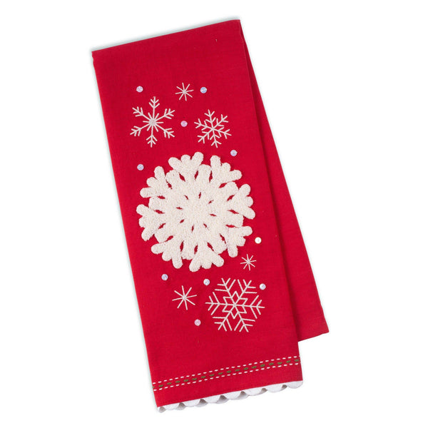 Falling Snowflakes Embellished Towel