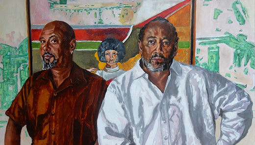 Ben and Sacha with their artist father Frank Bowling's painting