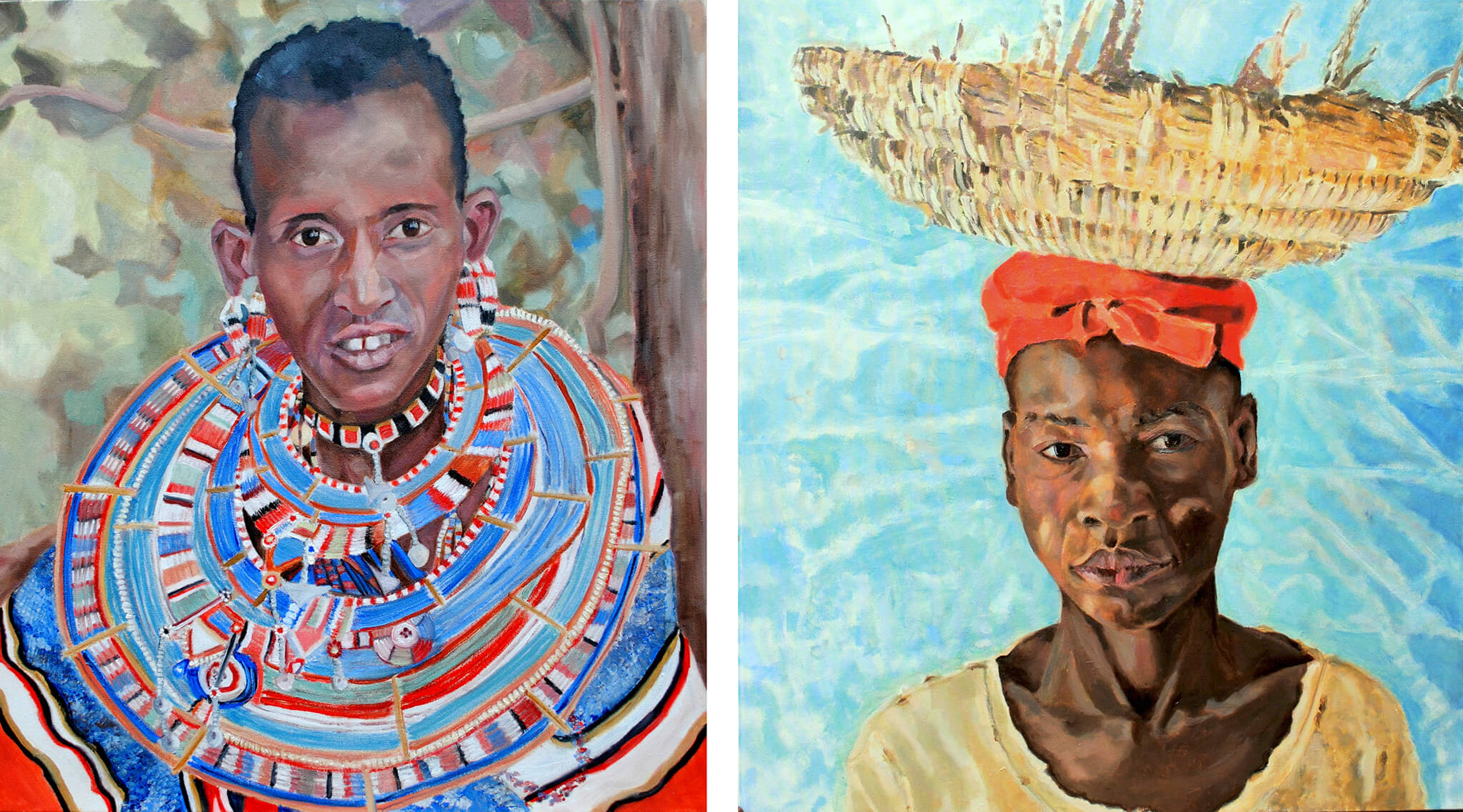 Maasai woman and The Hod Carrier oil on canvas portraits by Stella Tooth