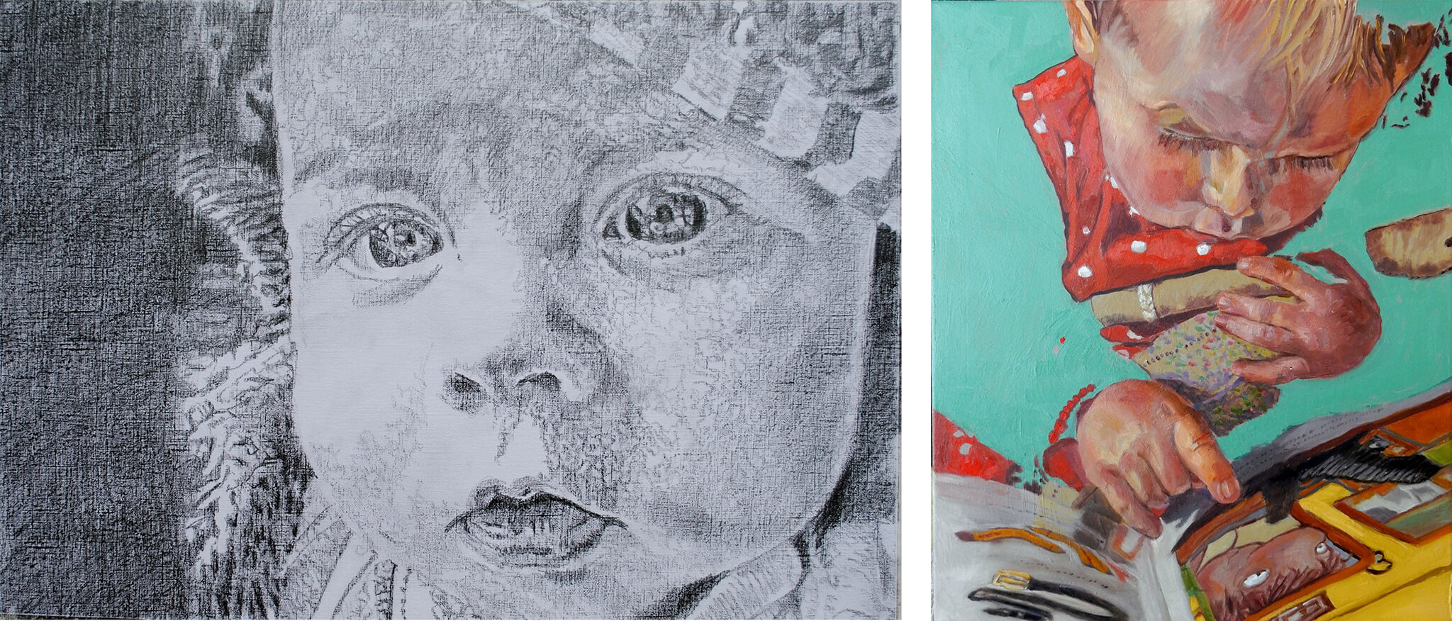 Daisy child portraits - pencil on paper and oil on canvas artworks - by Stella Tooth.