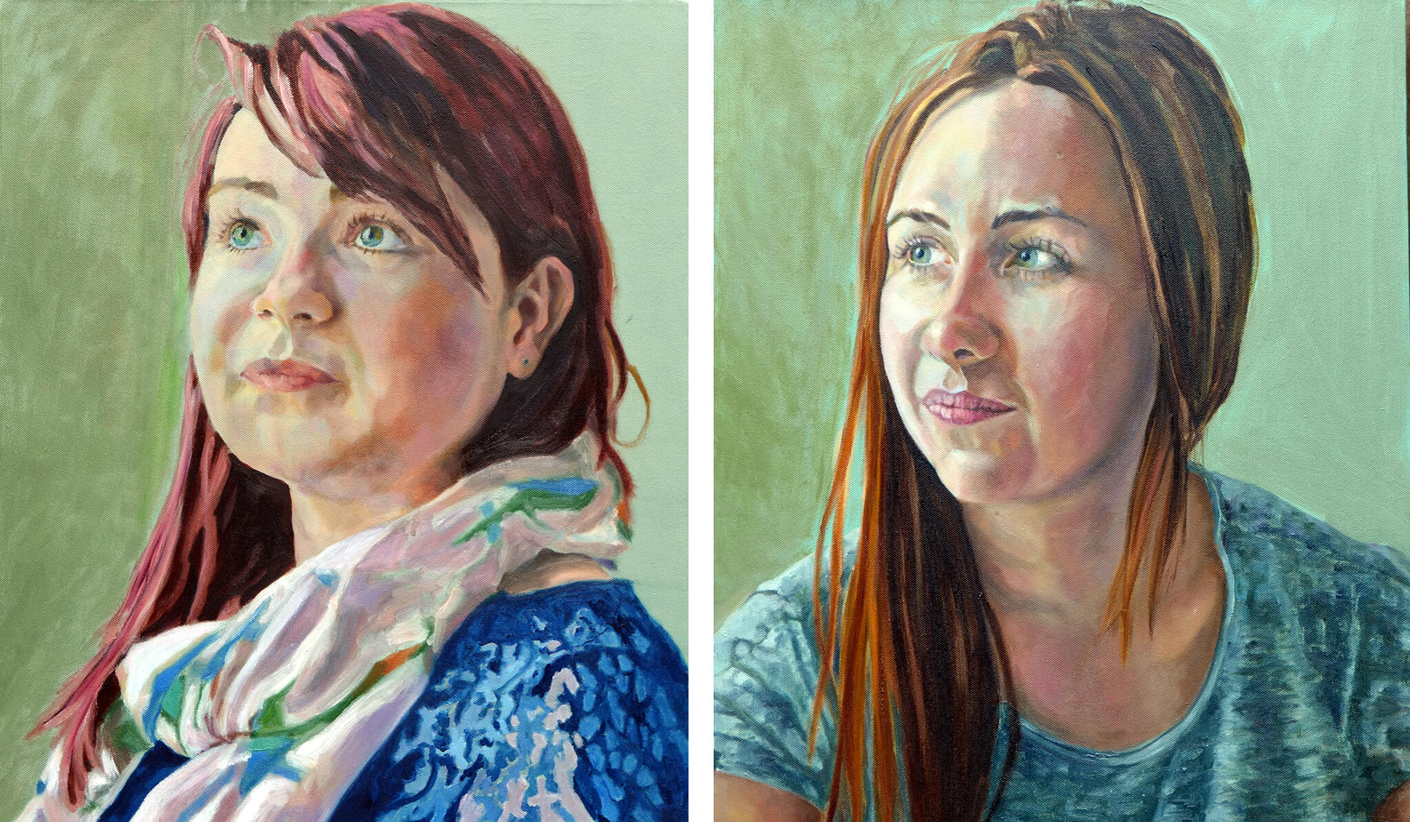Florence and Phoebe Gibson portraits in oils on canvas artworks by Stella Tooth.