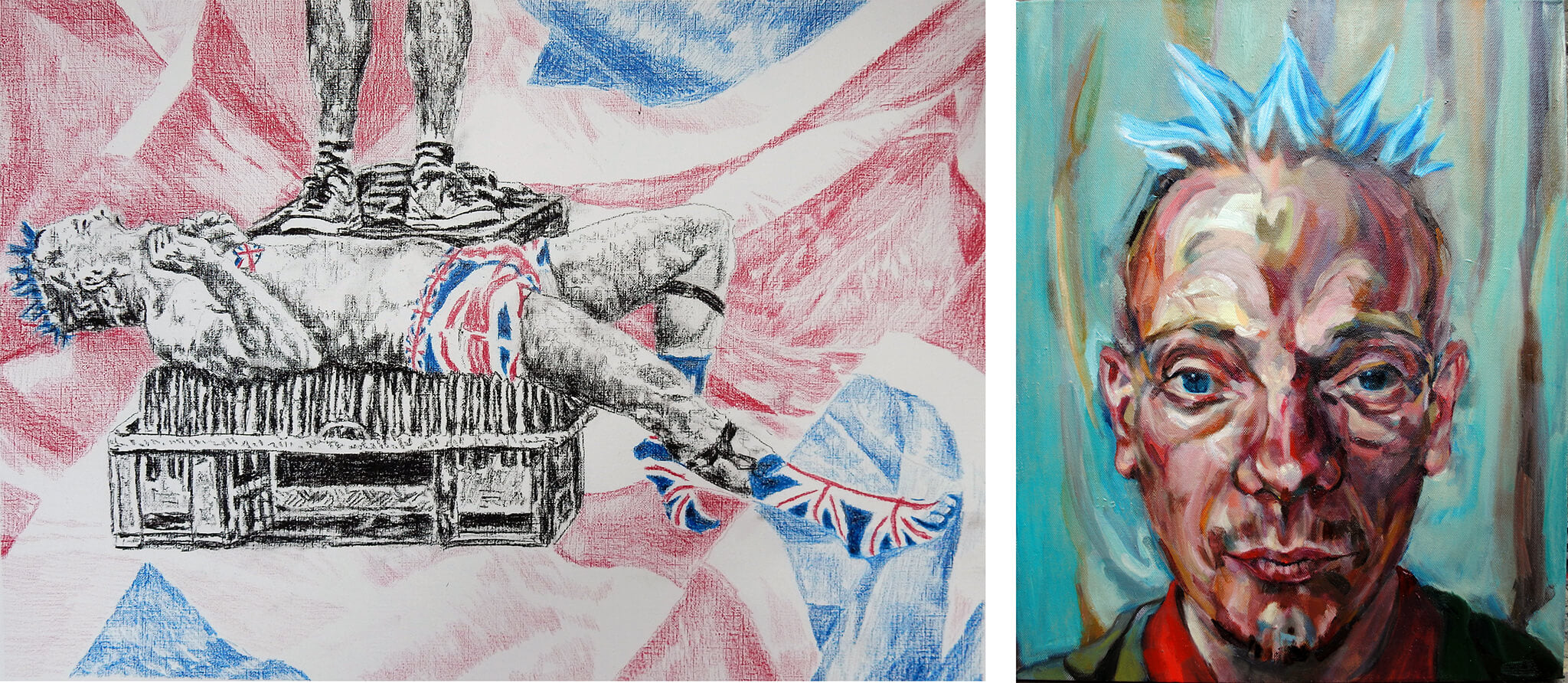 Spikey the bed o' nails artist Covent Garden - drawn and in oil on canvas artworks - by Stella Tooth.