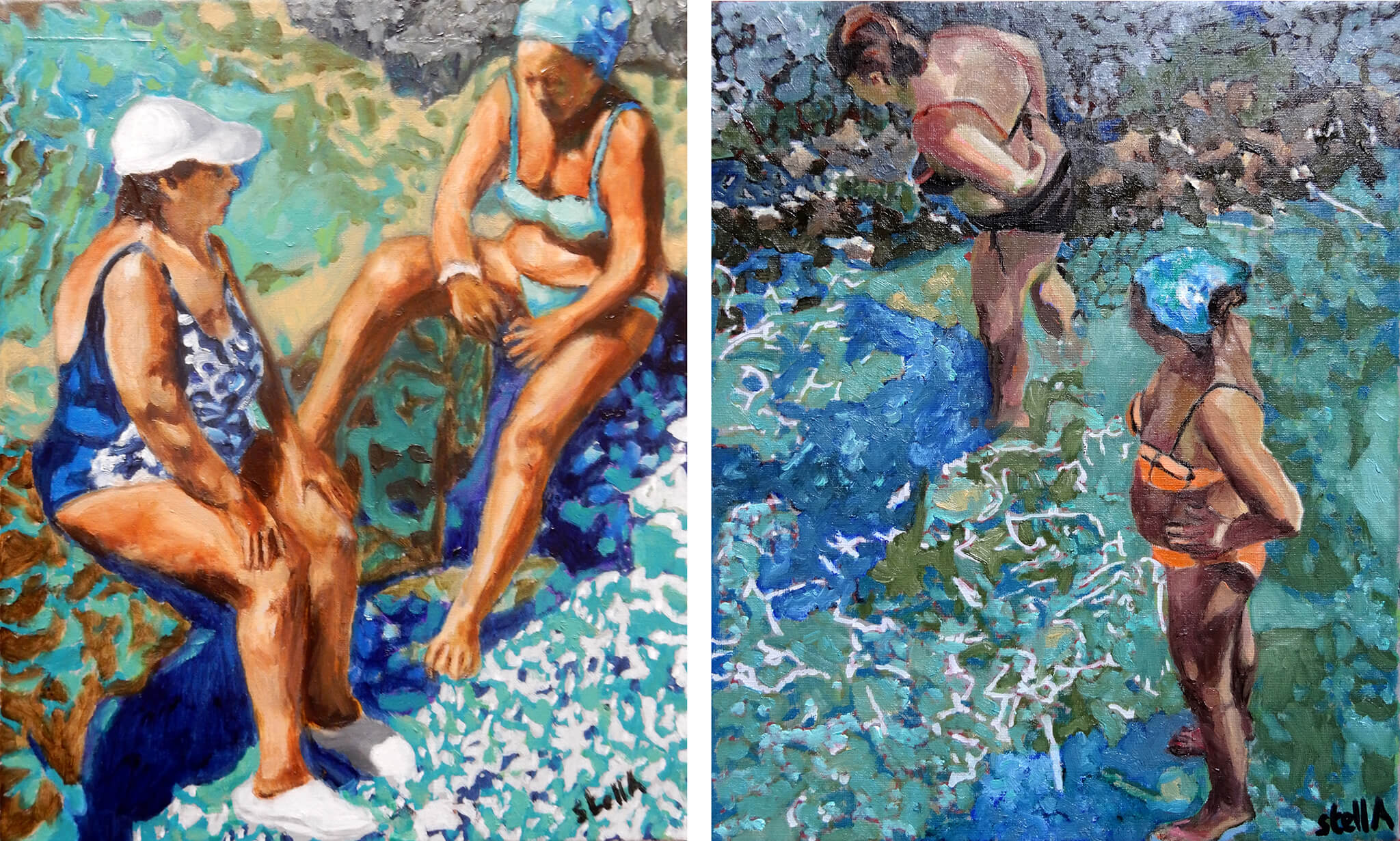 Artworks from Stella Tooth's oil on canvas Ischia bather series.