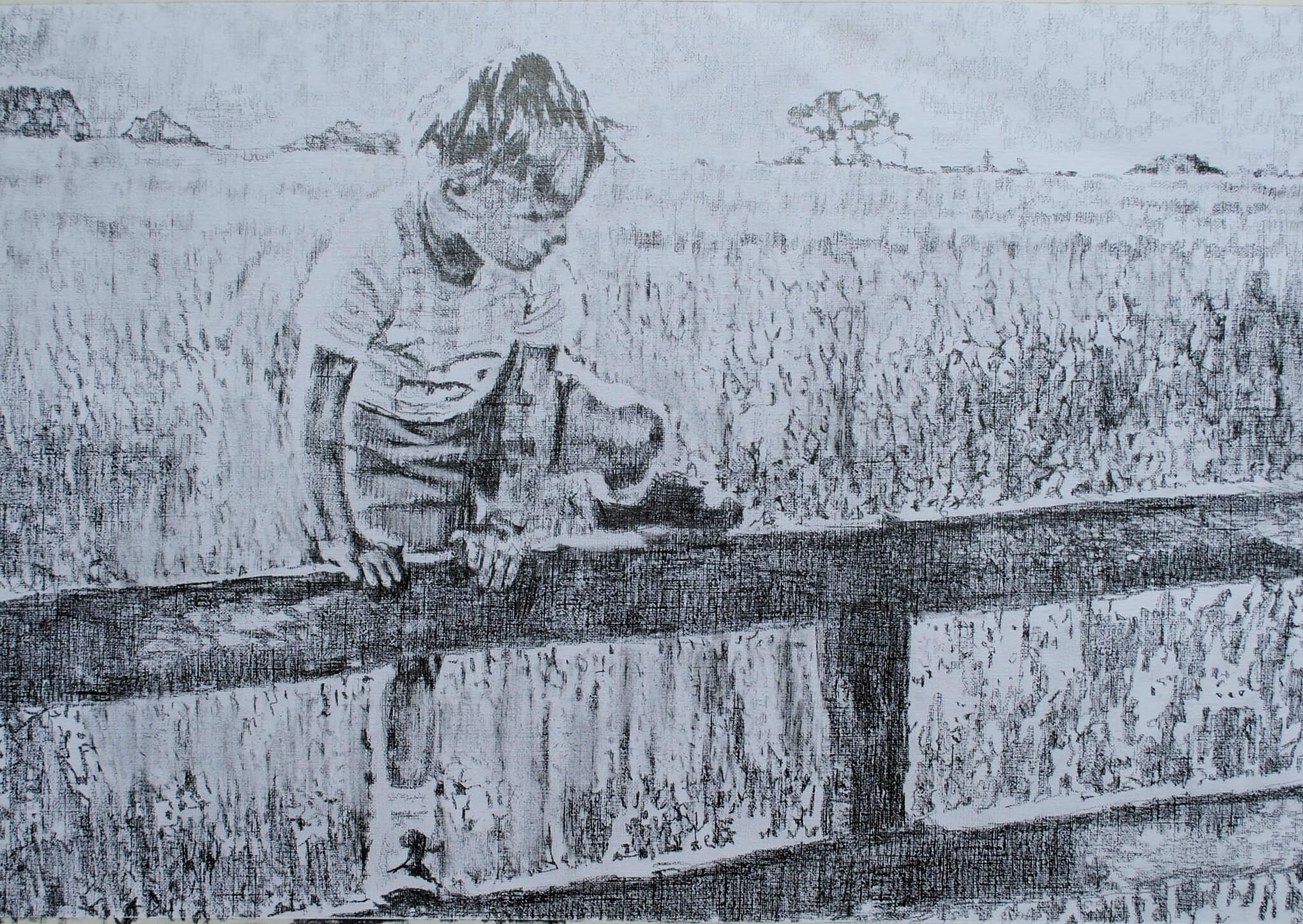 A Shropshire lad pencil on paper biographical portrait by Stella Tooth