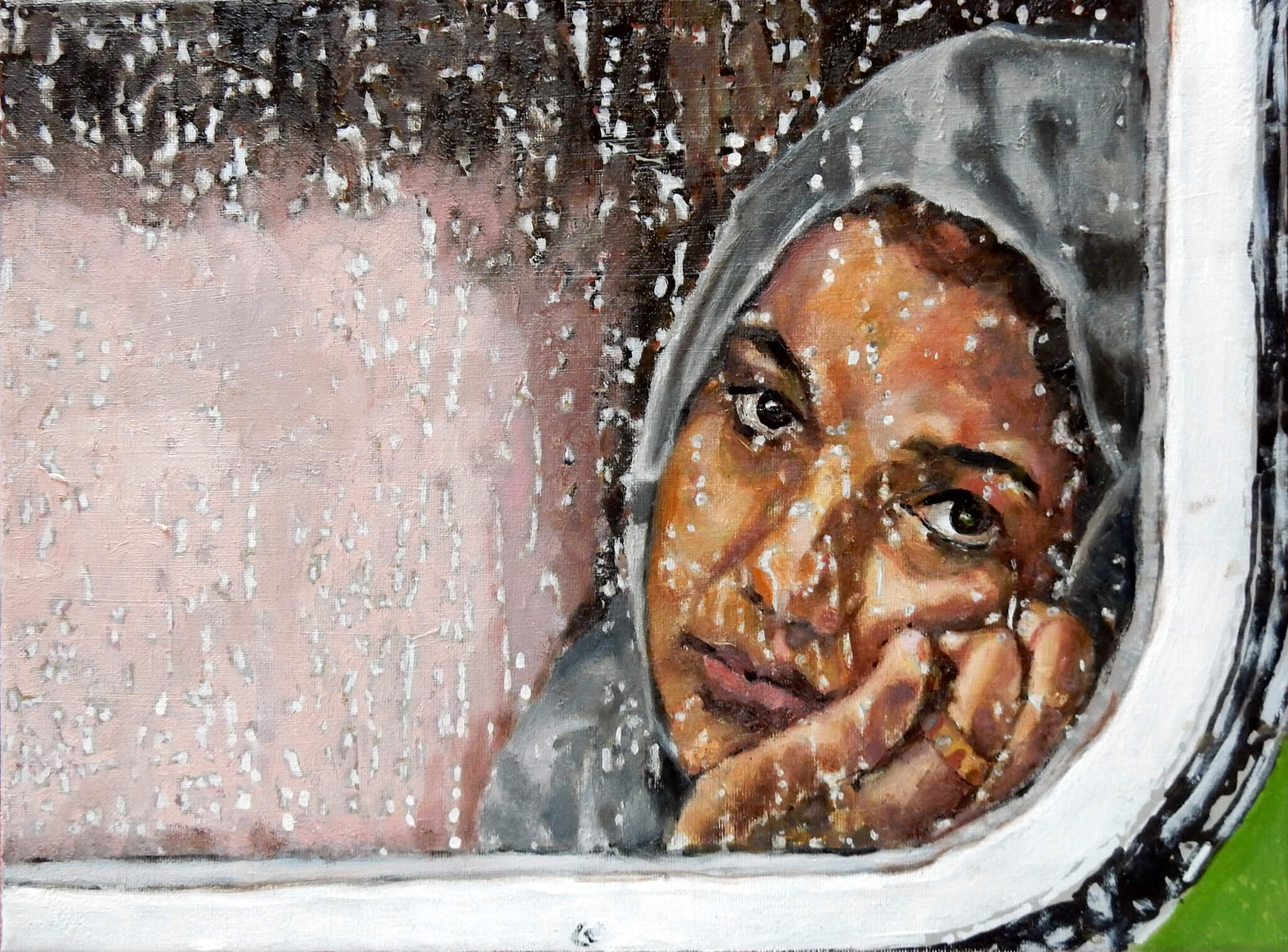 A migrant at Bicske Hungary oil on canvas portrait artwork by Stella Tooth inspired by photo by Petr David Josek.