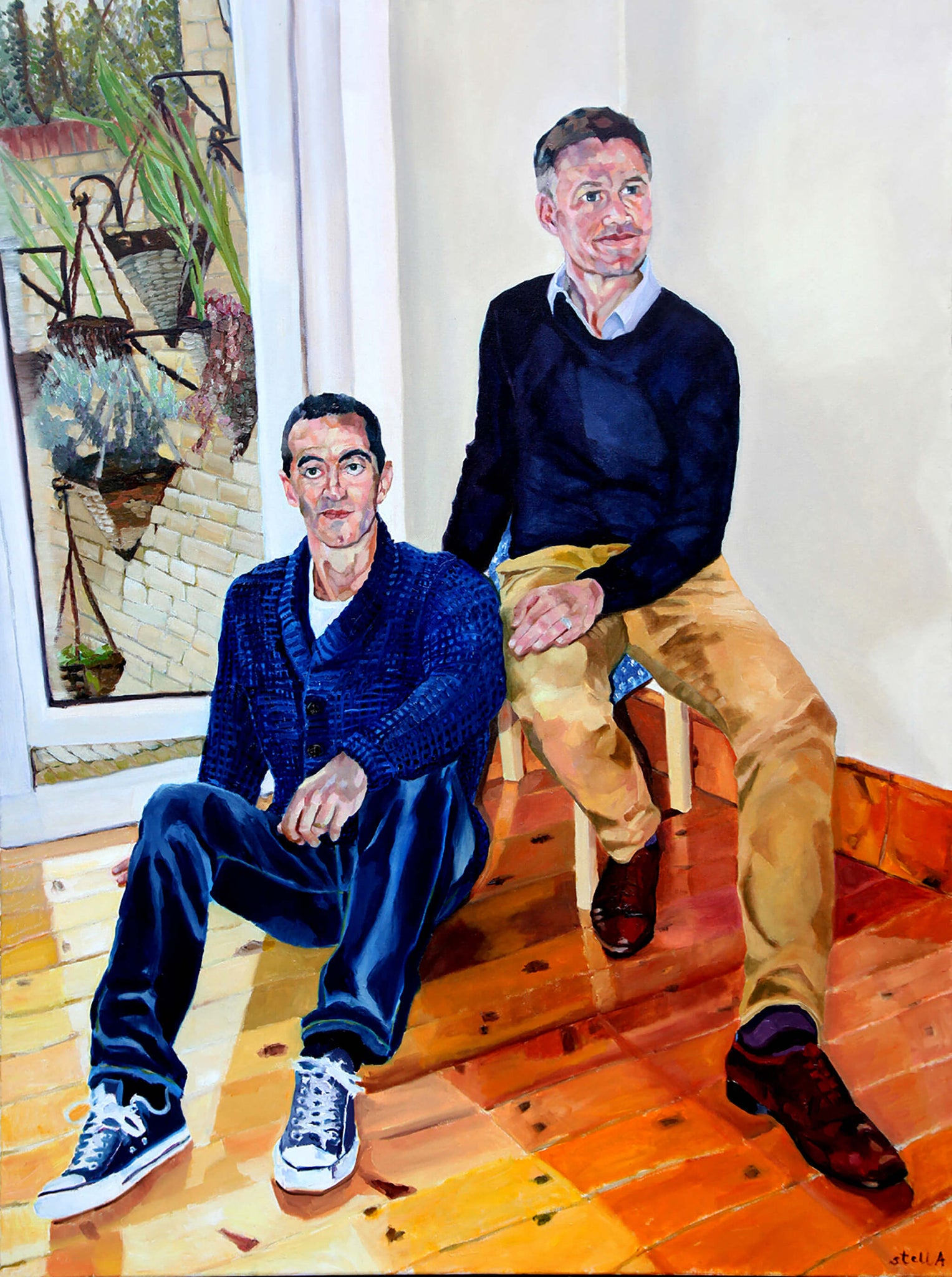 Ex Sky News' Robert Nisbet and partner lawyer Alexis Mavrikakis portrait in oil on canvas artwork by Stella Tooth.