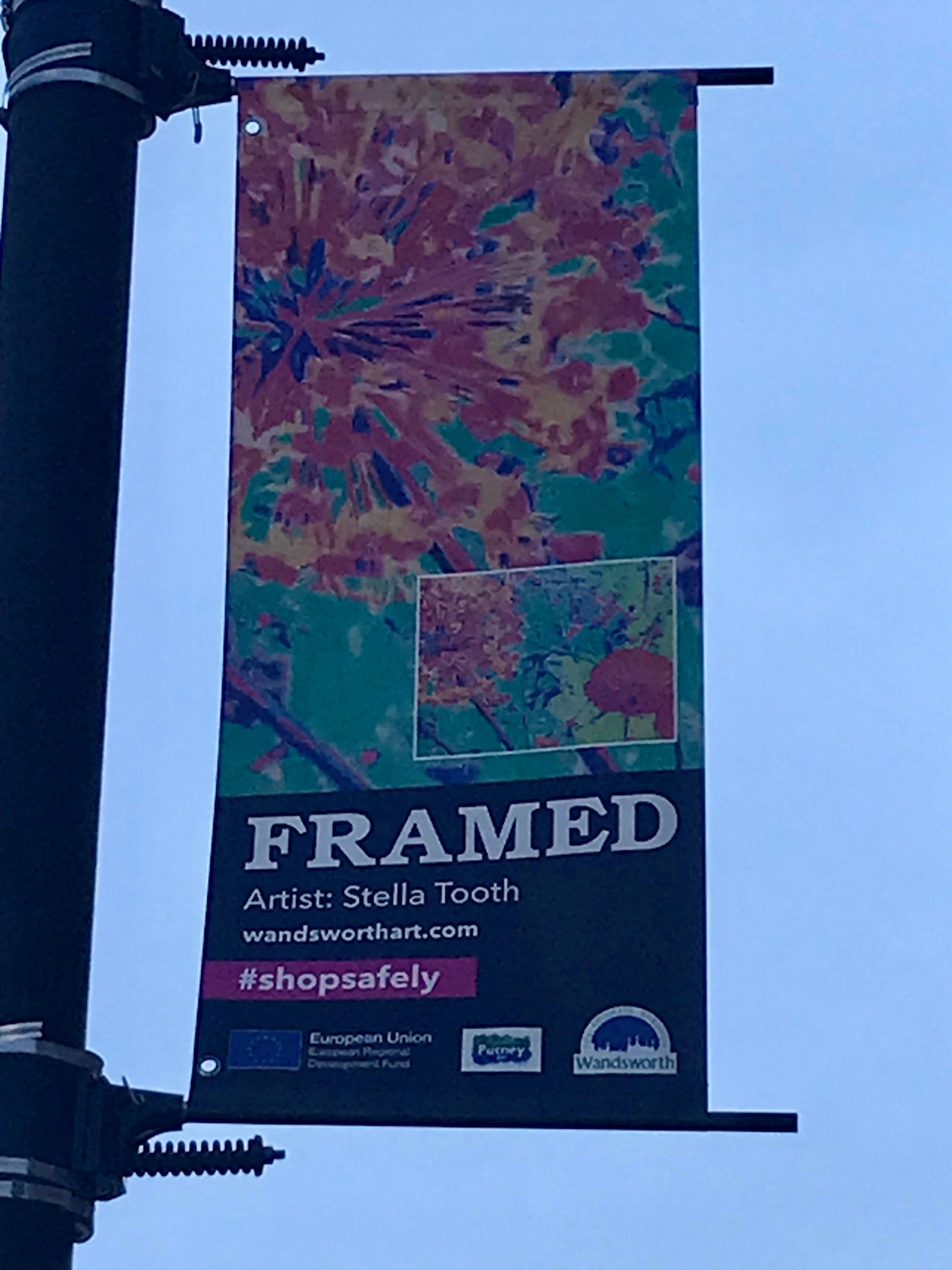 Stella Tooth's Allium featuring on lamppost in Putney High Street for Framed