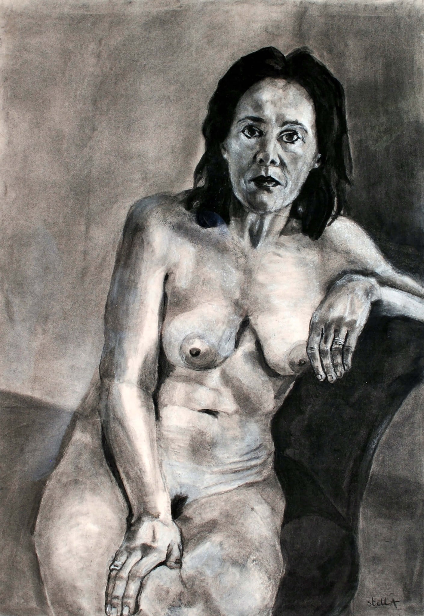 Annie charcoal and chalk on paper life drawing artwork by Stella Tooth.