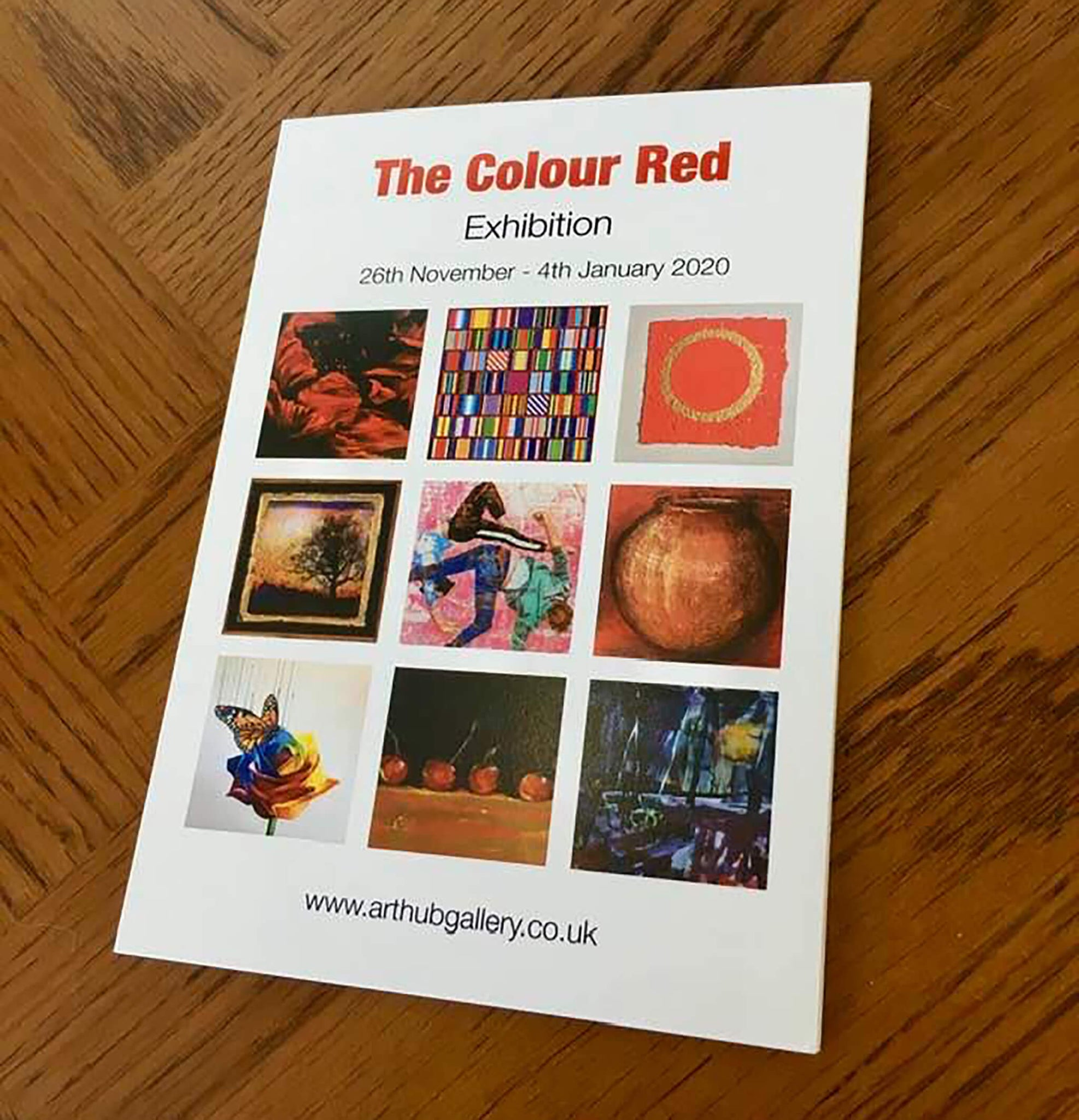 The Colour Red exhibition at The Art Hub in Tunbridge Wells including Stella Tooth's acrobat artworks.