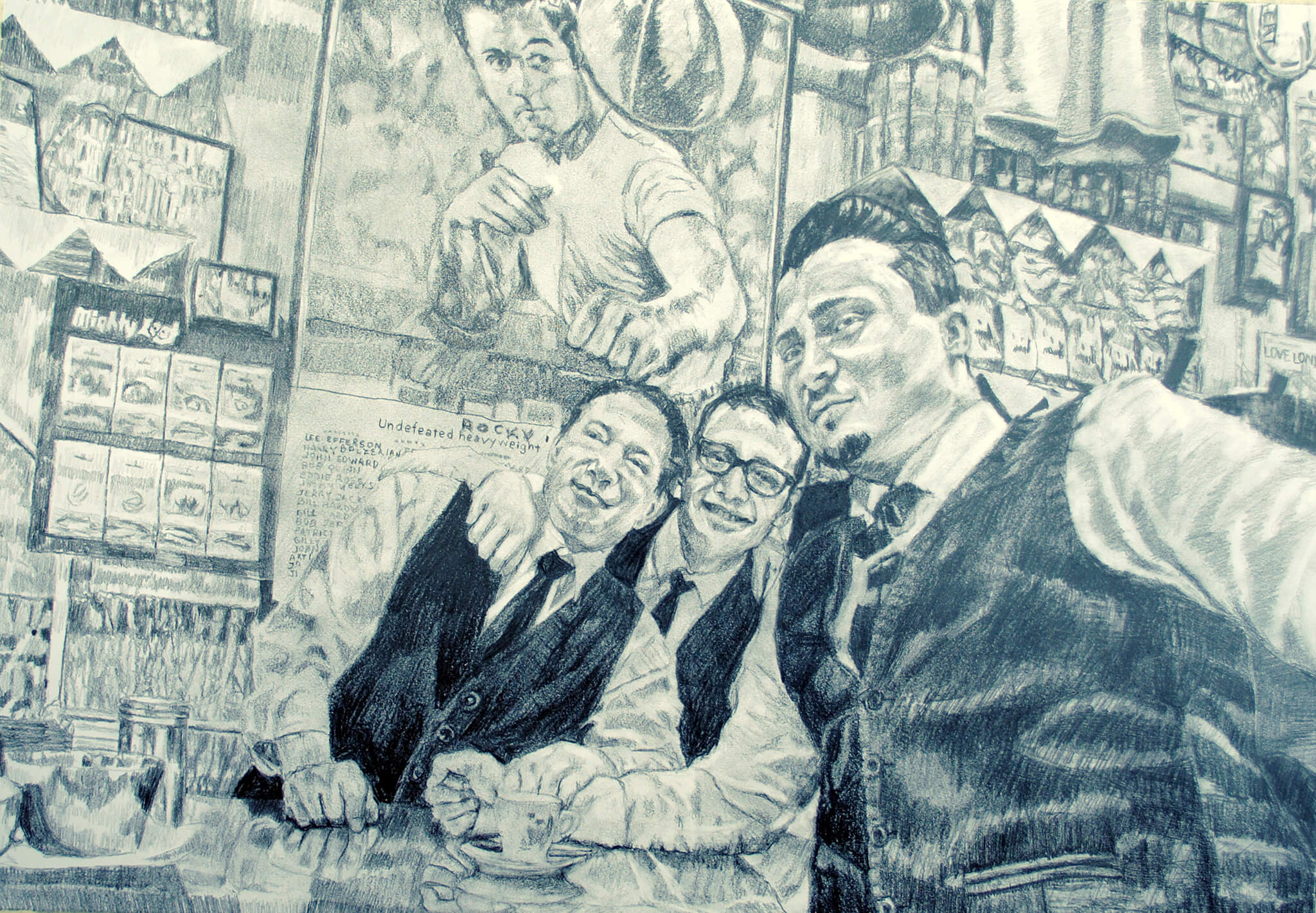 Bar Italia staff pencil on paper business portrait commission artwork by Stella Tooth