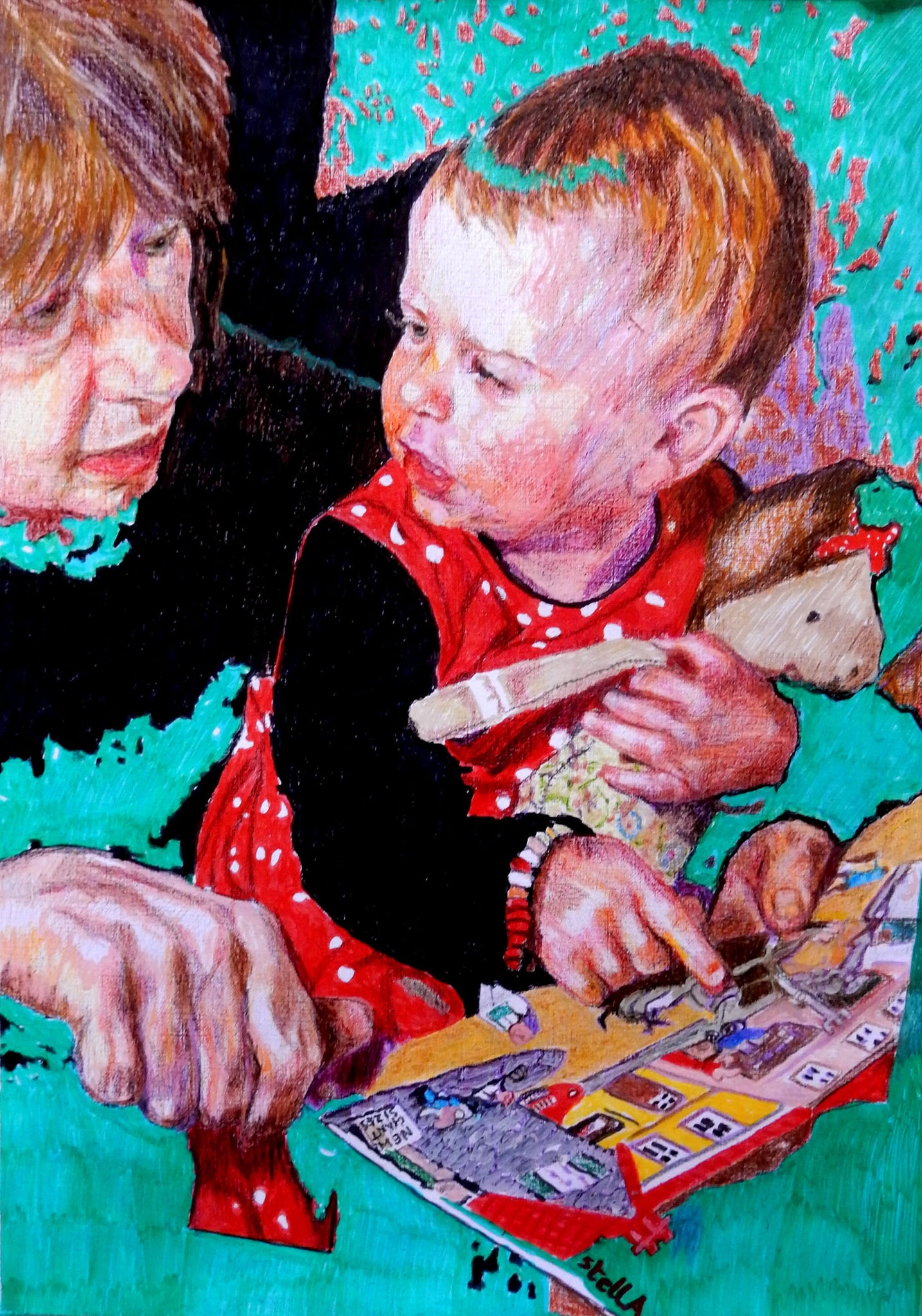 Daisy reading with granny pencil on paper portrait artwork by Stella Tooth.