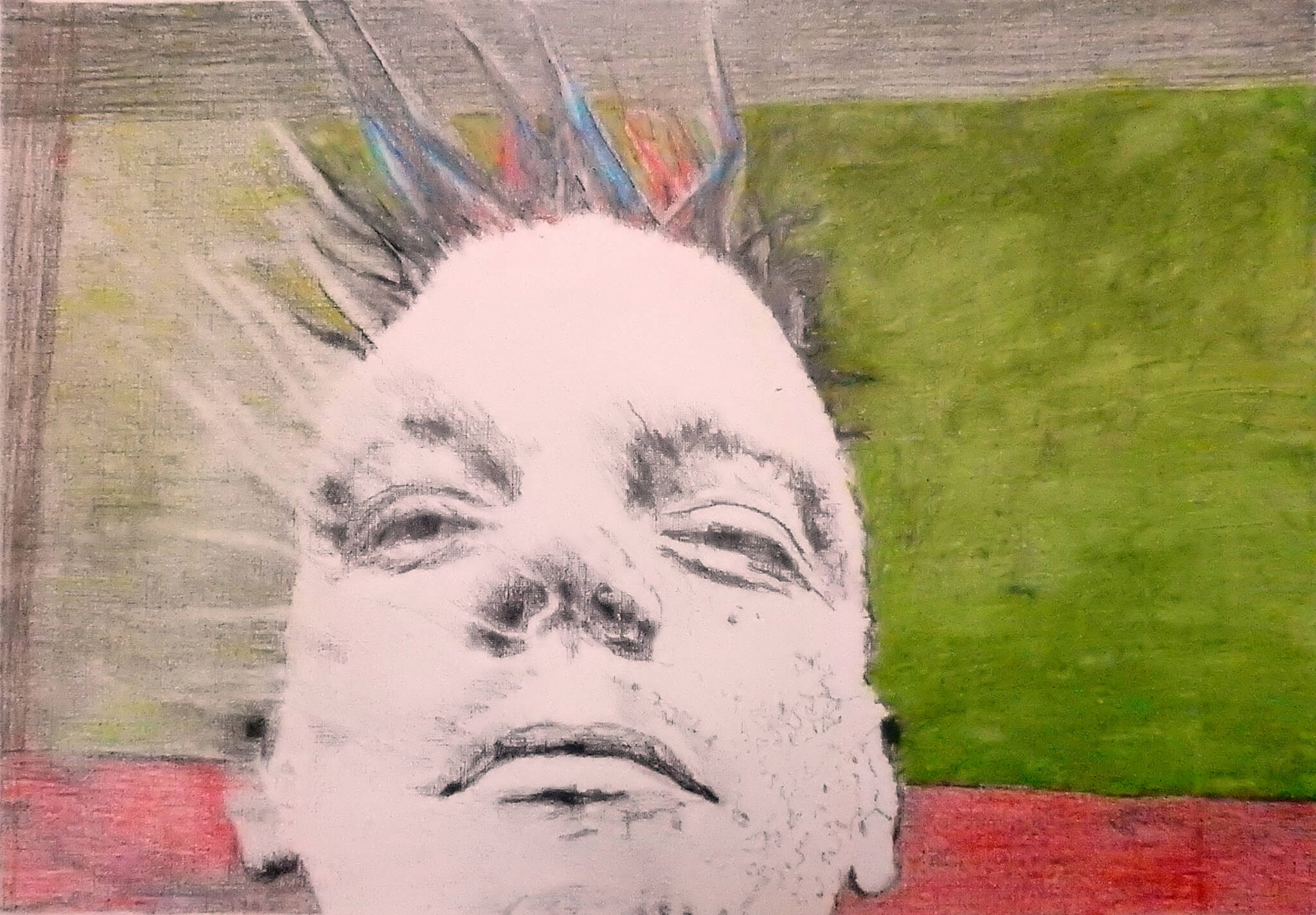 Spikey bed o' nails artist in Covent Garden mixed media on paper artwork by Stella Tooth.