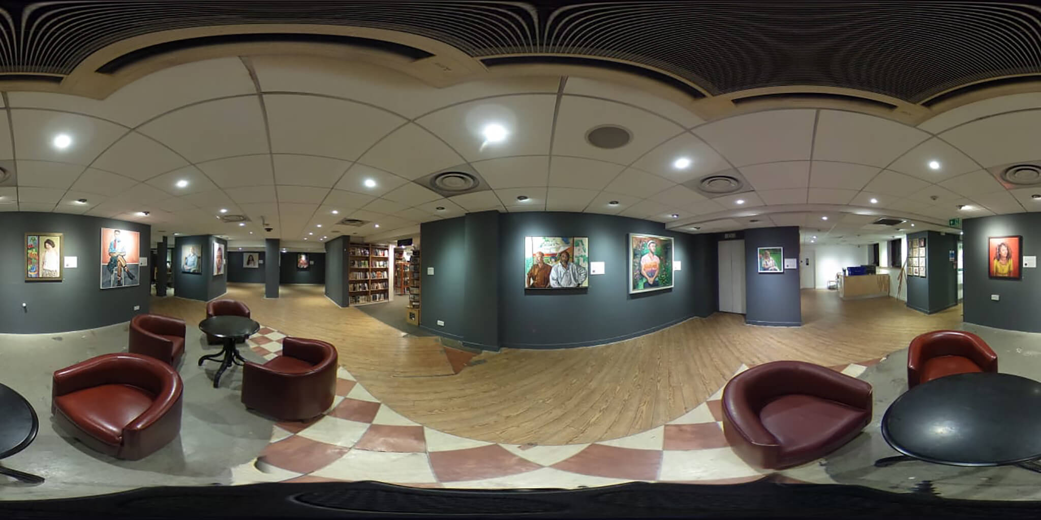 Connected The Changing face of Britain by the Lots Road Group 360 degree image of exhibition with Stella Tooth's portrait centre.