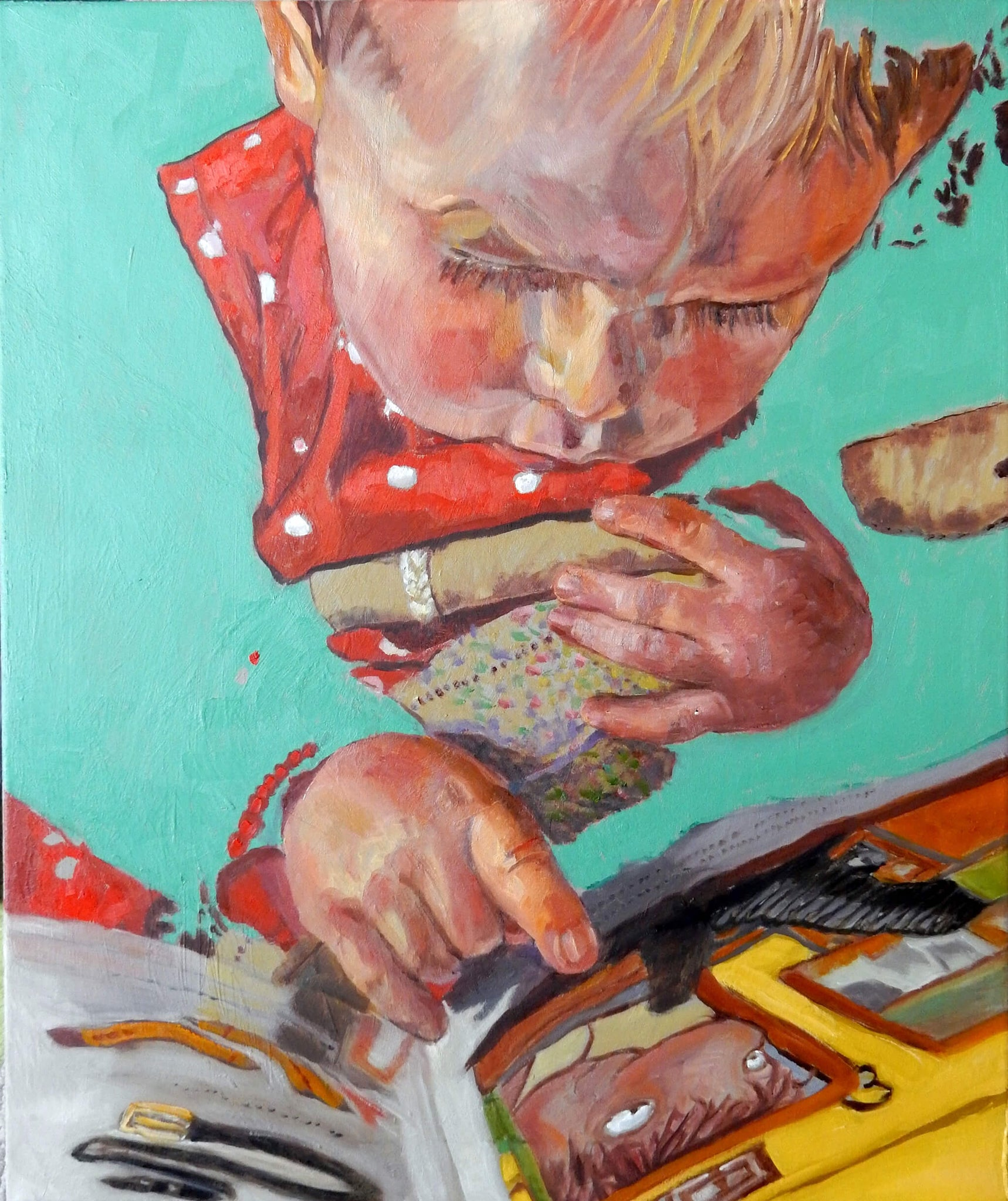 Daisy reading Julia Donaldson's The Smartest Giant in Town oil on canvas portrait artwork by Stella Tooth.