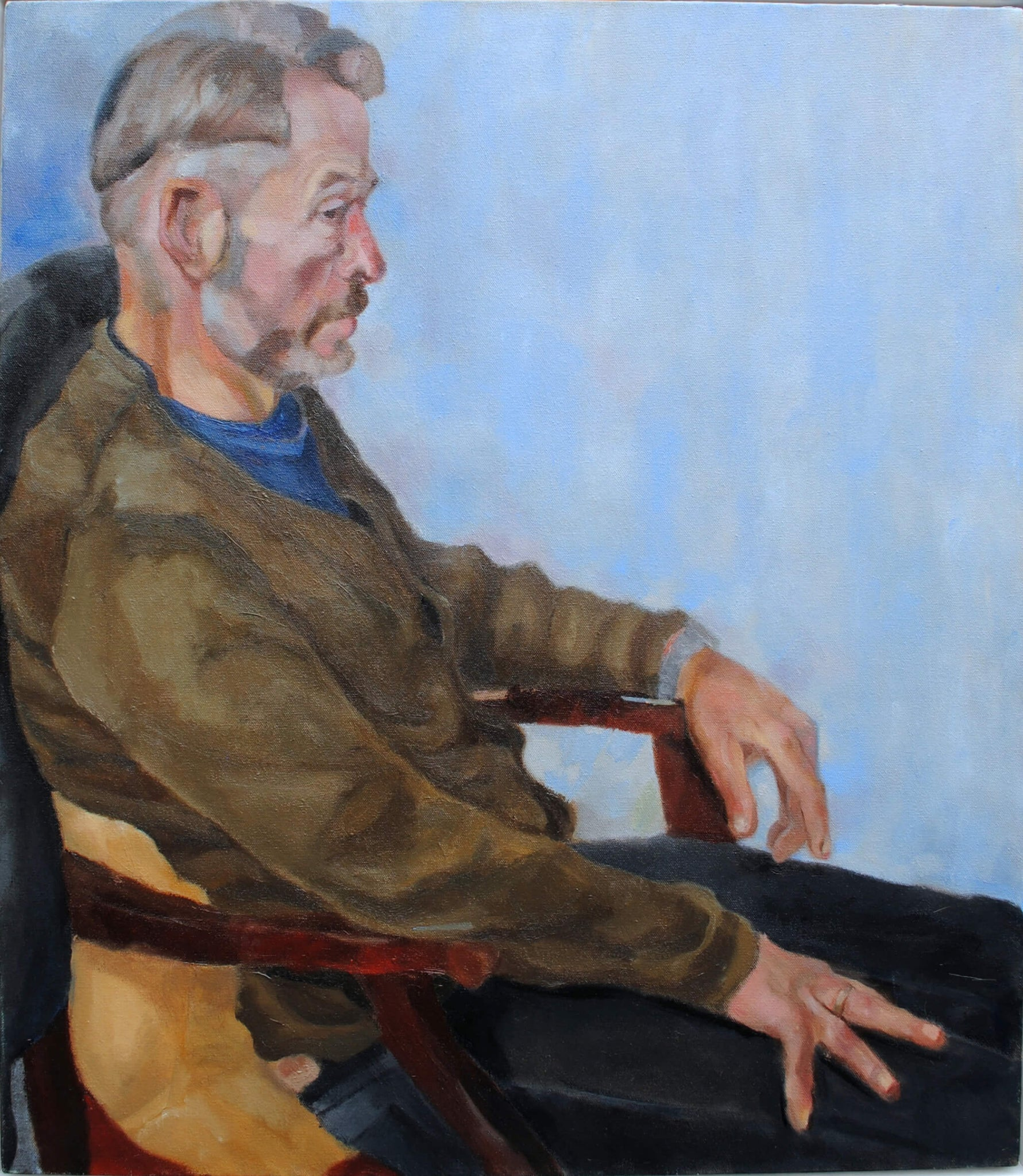 Heatherleys model David portrait in oils on canvas artwork by Stella Tooth.