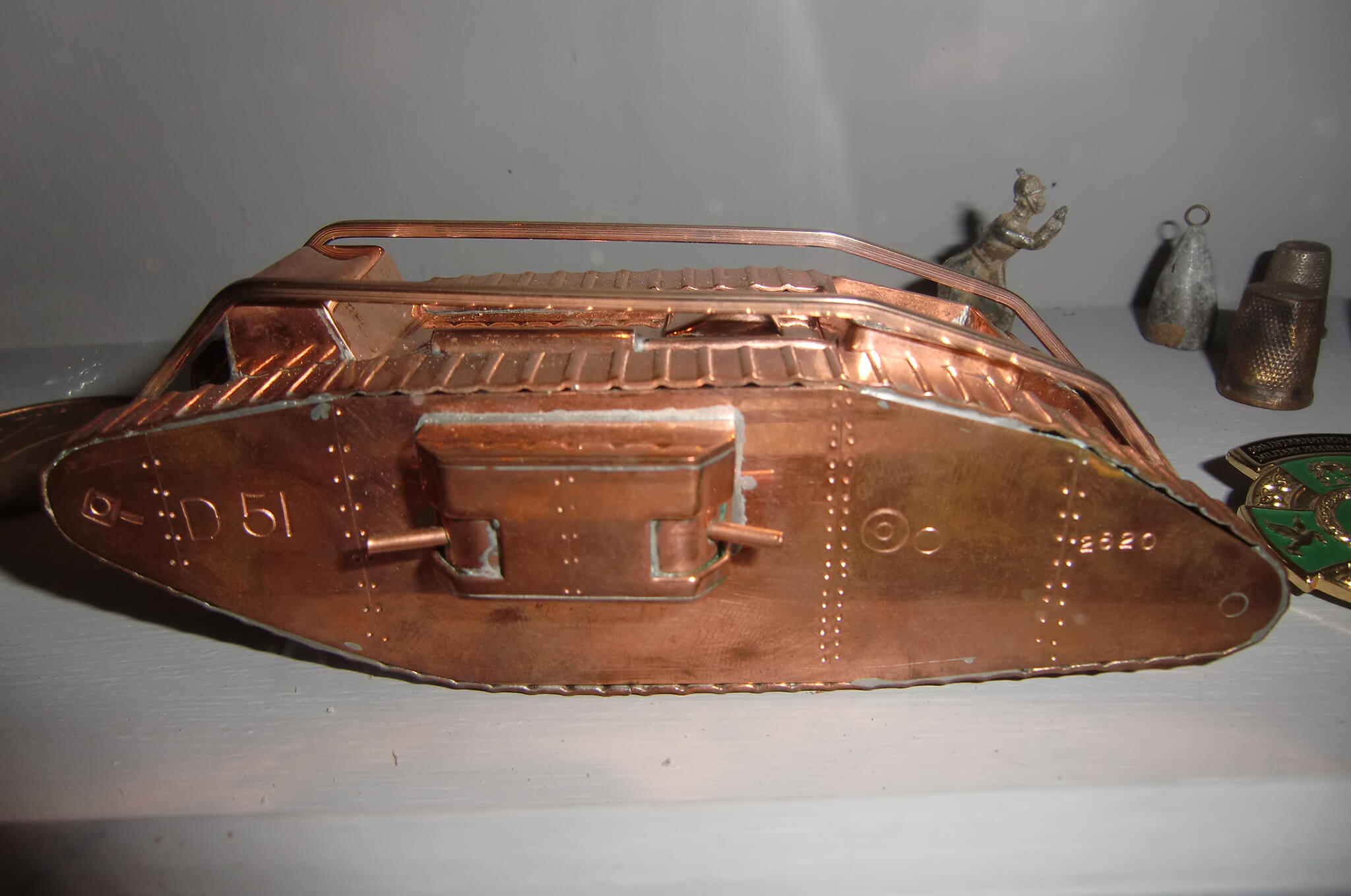 Photograph of model of Deborah WWWI tank in French museum in Cambrai.