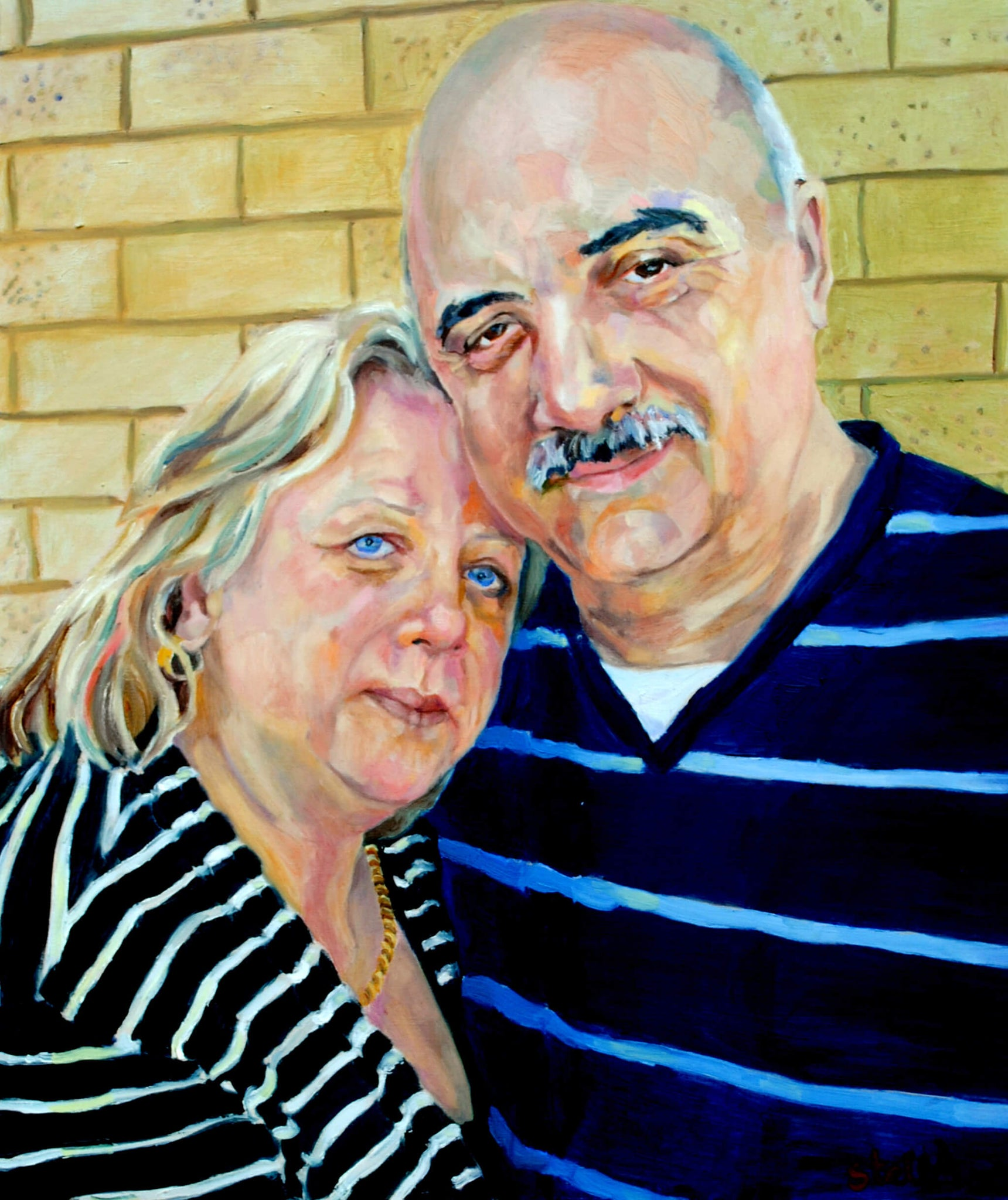 Denise and Alex Zimbardi oil on canvas double portrait artwork oil on canvas by Stella Tooth.