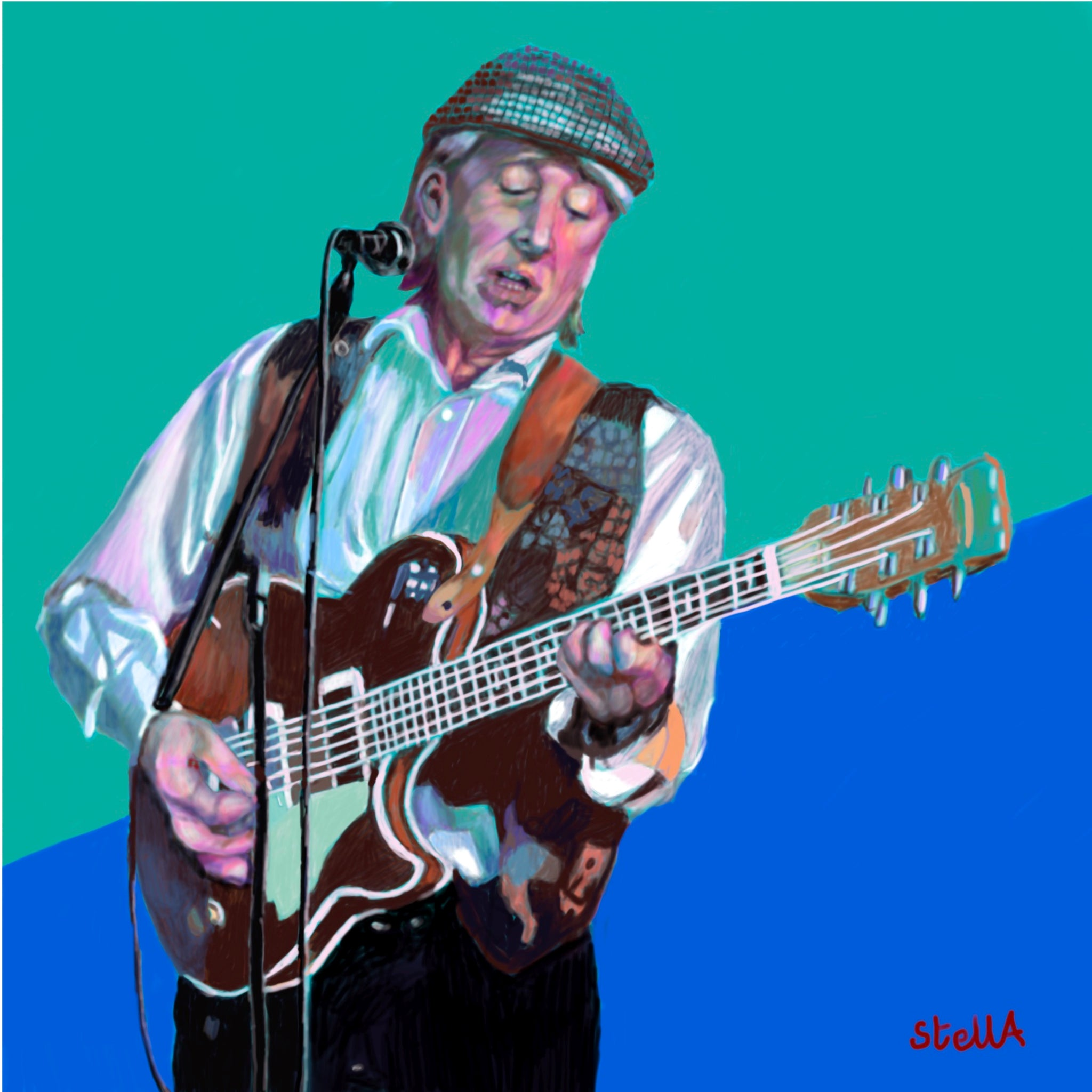 Digital painting of Don Craine of the Downliners Sect by British figurative artist Stella Tooth