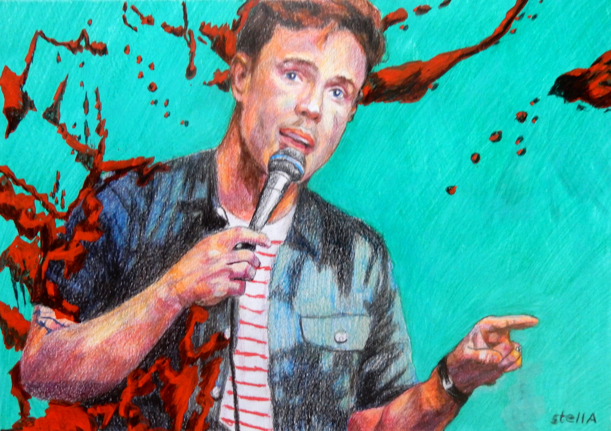 Ed Gamble comedian mixed media on paper by Stella Tooth artist